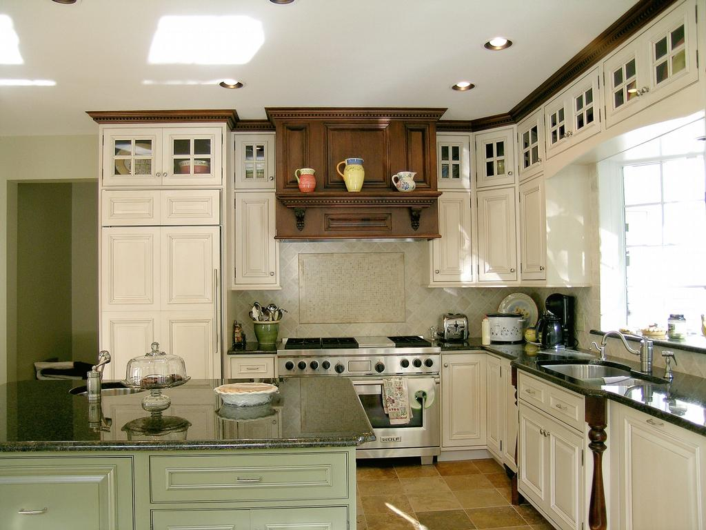 White with Glaze, Sage Green Island, Maple Trim from Pine Hill
