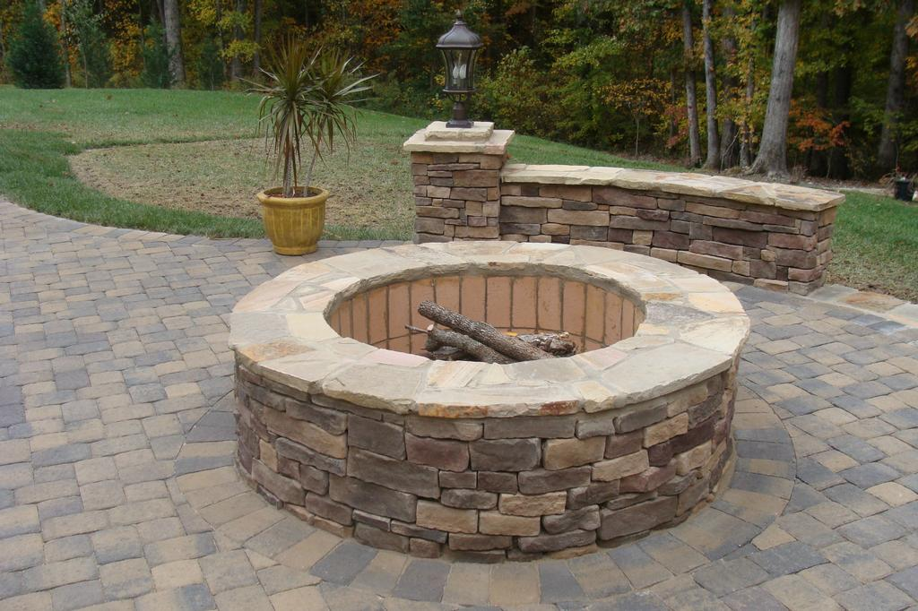 Waxhaw nc fire pit from fine edge landscape design in for Eldorado stone fire pit