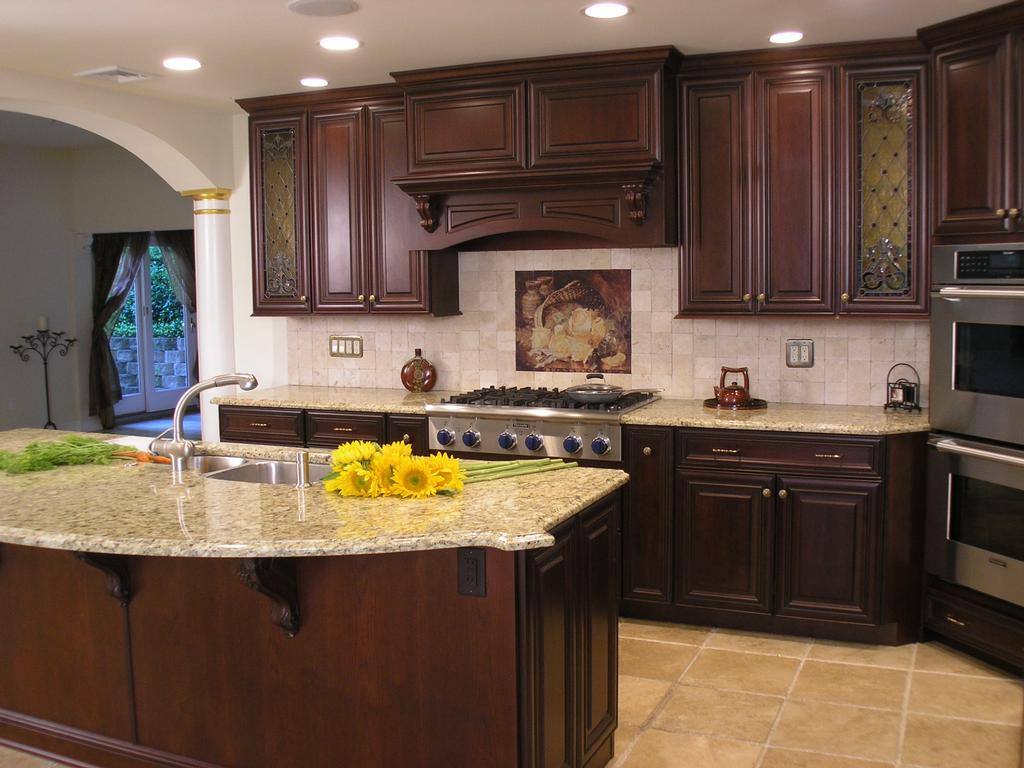 Wrong Color Right Layout With Stove Sink On Island Etc  Pannu Amusing Dark Wood Cabinets Kitchen Design Review
