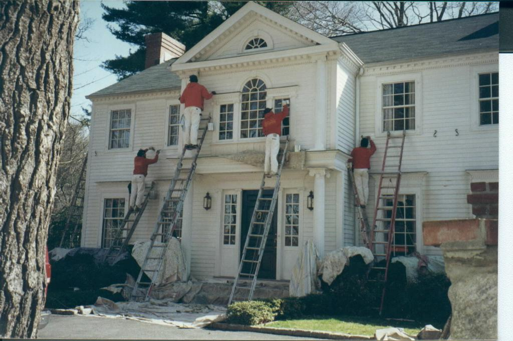 White house exterior painting from thomas wallcovering in west chester pa 19380 - Exterior house painting images gallery ...