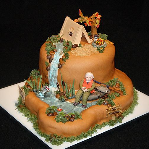 Camping Themed Grooms Cakes