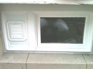 New Operating Basement Hopper Window With Dryer Vent