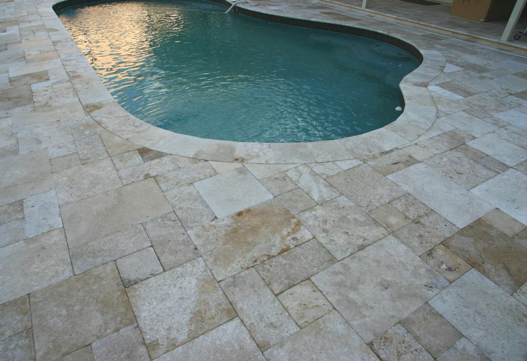 Pool deck travertine from orlando brick pavers inc in for Best pavers for pool deck