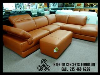 Italsofa leather sectional in orange saddle leather for Todays furniture philadelphia