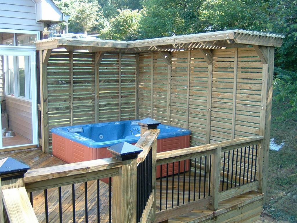 Hot tub deck from distinctive designs 4 you incorporated for Hot tub deck designs plans