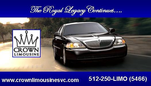 Front business card from crown limousine service in pflugerville tx by crown limousine service colourmoves Images