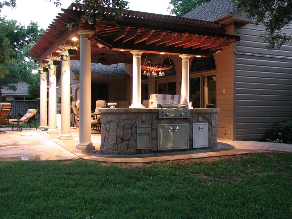 Custom outdoor rooms and kitchens the fire escape in for Outdoor patio small spaces