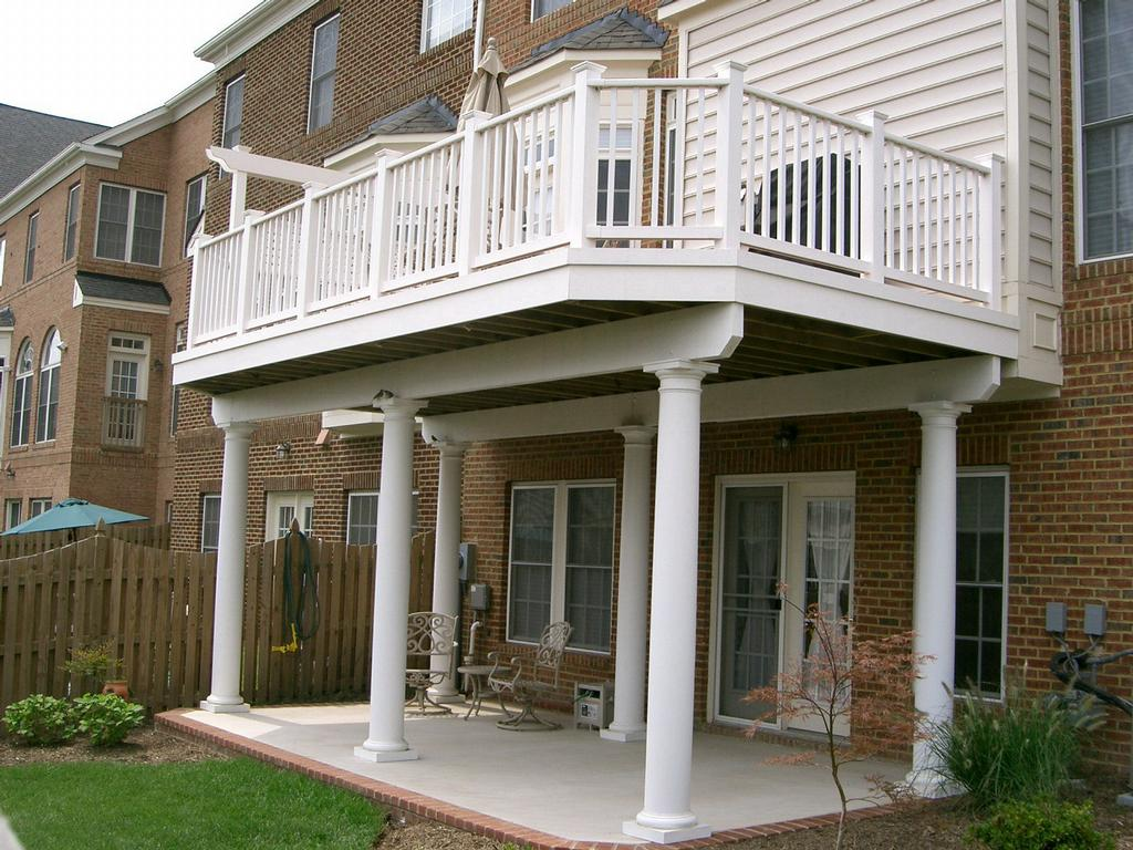 porch and composite white porches columns pin support vinyl railing