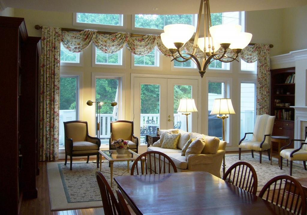 ... Area Rug, Wood Pole Swags, Curtains, Reston VA by Golden Interiors Inc