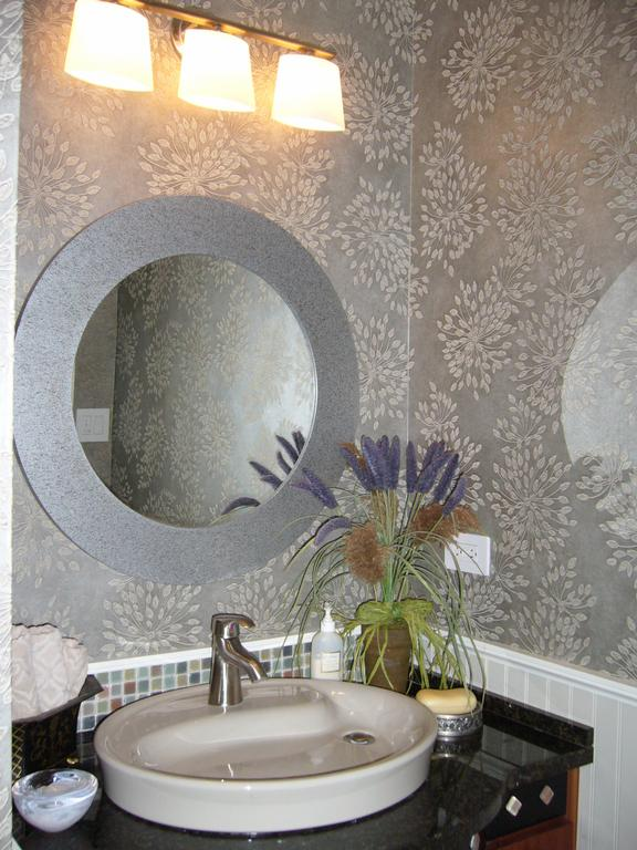 Powder Room Custom Vanity, Kohler Yin Yang Sink, Color Sandbar