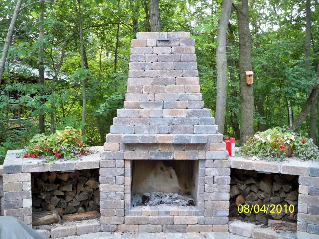 Outdoor fireplaces from prestige landscaping llc garden for Garden fireplace design