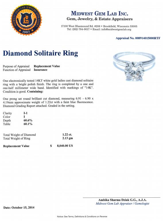 Diamond appraisal template pictures to pin on pinterest for Jewelry appraisal form template