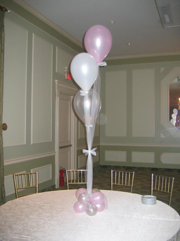 Balloon centerpiece with tulle from all around town