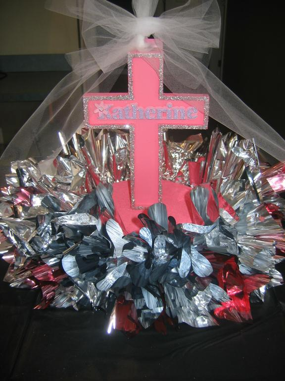 Communion cross centerpiece from all around town balloons