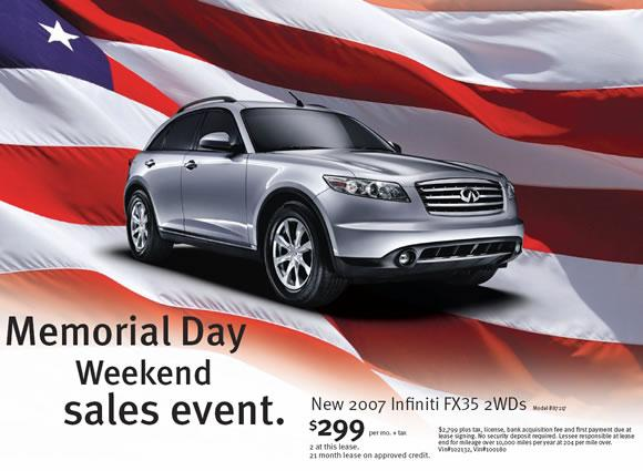 memorial day 2007 infiniti fx35 sale event los angeles county ca infiniti of santa montica. Black Bedroom Furniture Sets. Home Design Ideas