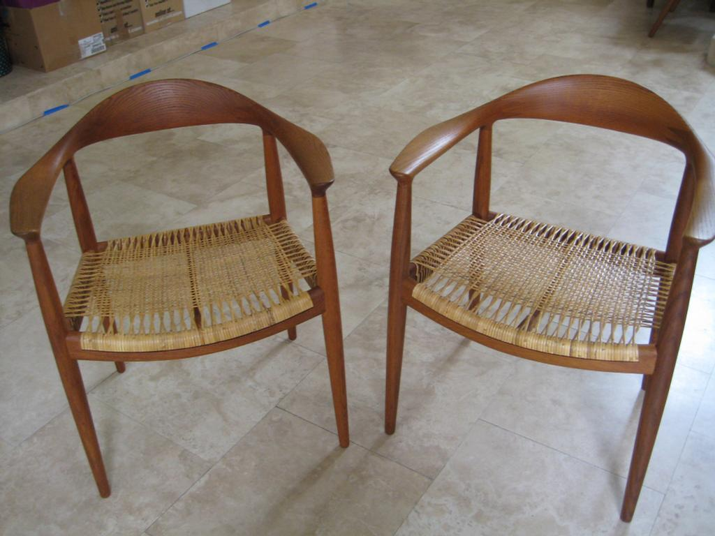 Johannes Hansen chairs with caned seats replaced and finish restored & Johannes Hansen chairs with caned seats replaced and finish restored ...