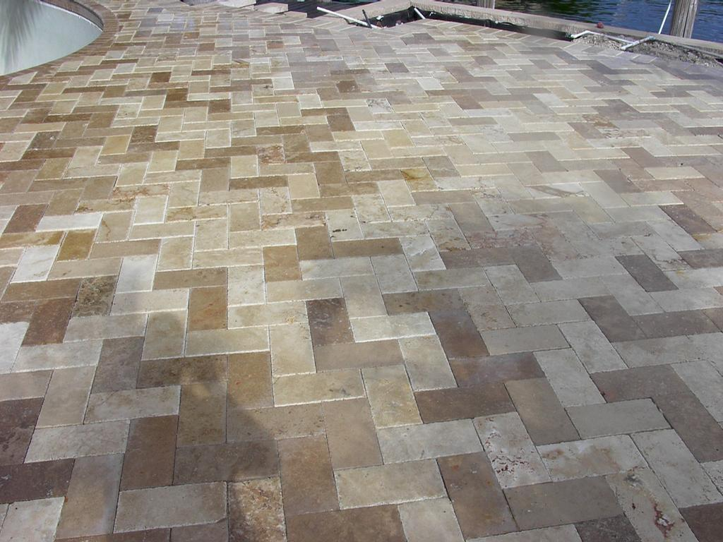Ivory And Noce Tumbled Travertine Pavers From Mc Pavers
