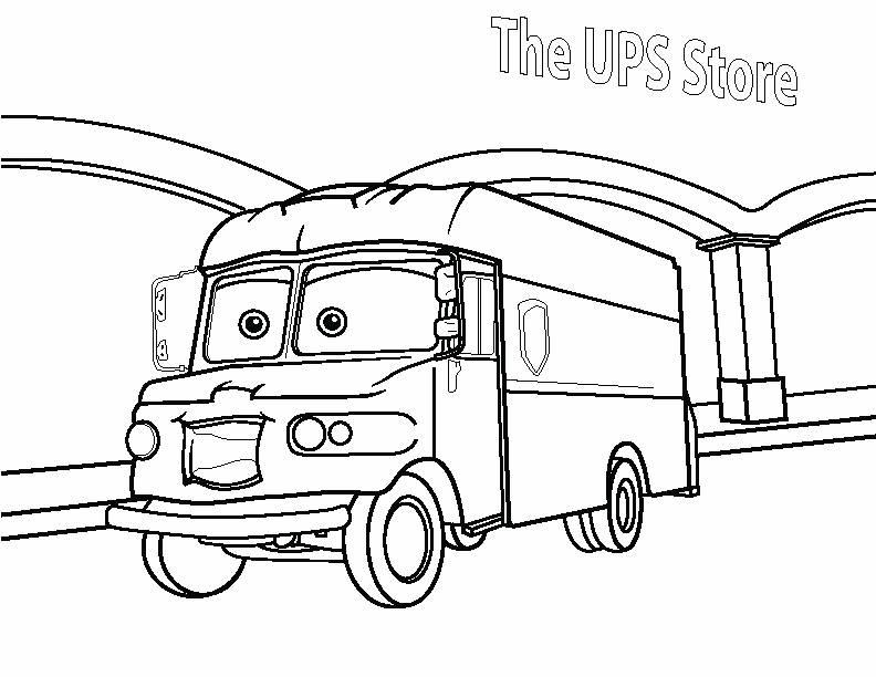 Mail Truck Coloring Page Ups From The Sketch Coloring Page