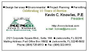 Kevin c knowles civil engineering inc jacksonville fl 32216 904 kckcei business card image reheart Gallery