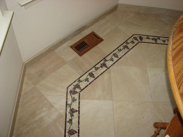 Porcelain Tile With Mosaic Border From Pepe Installation In
