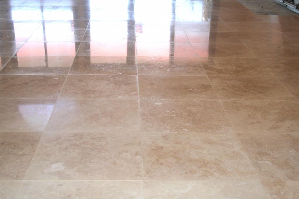 Marble Floor Restoration : Travertine paste floor polishing orange