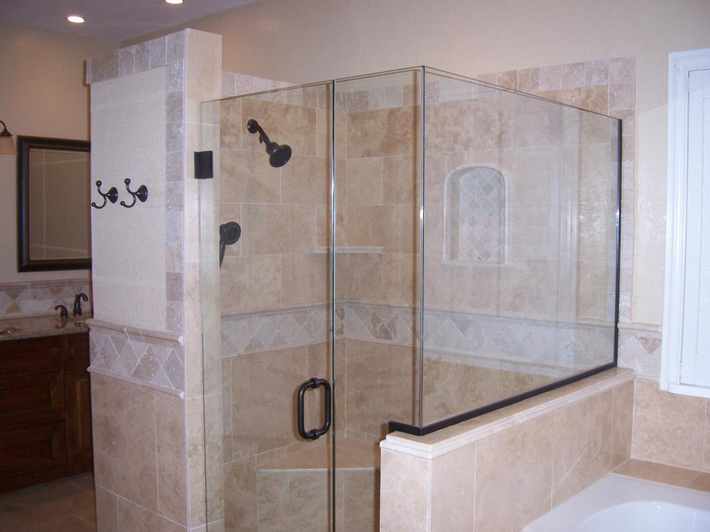 Custom Luxury Shower Enclosure Frameless Glass Stone Tile