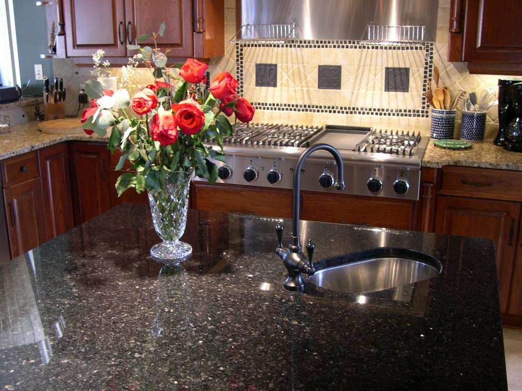 LabGoldFlake04. Kitchen   Offset Double Bowl By Crowe Custom Countertops