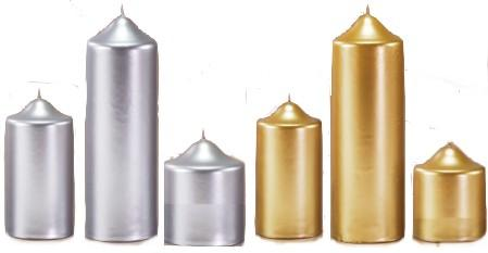 gold silver pillar candles from candle boutique gifts. Black Bedroom Furniture Sets. Home Design Ideas