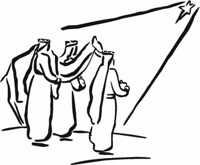 Christmas Star Wise Men Coloring Page