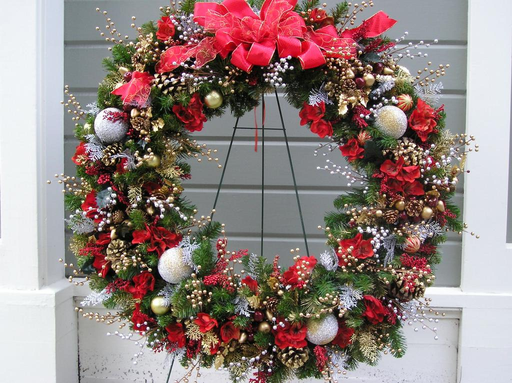 Holiday christmas wreaths from blooming floral design in for California floral and home christmas decorations