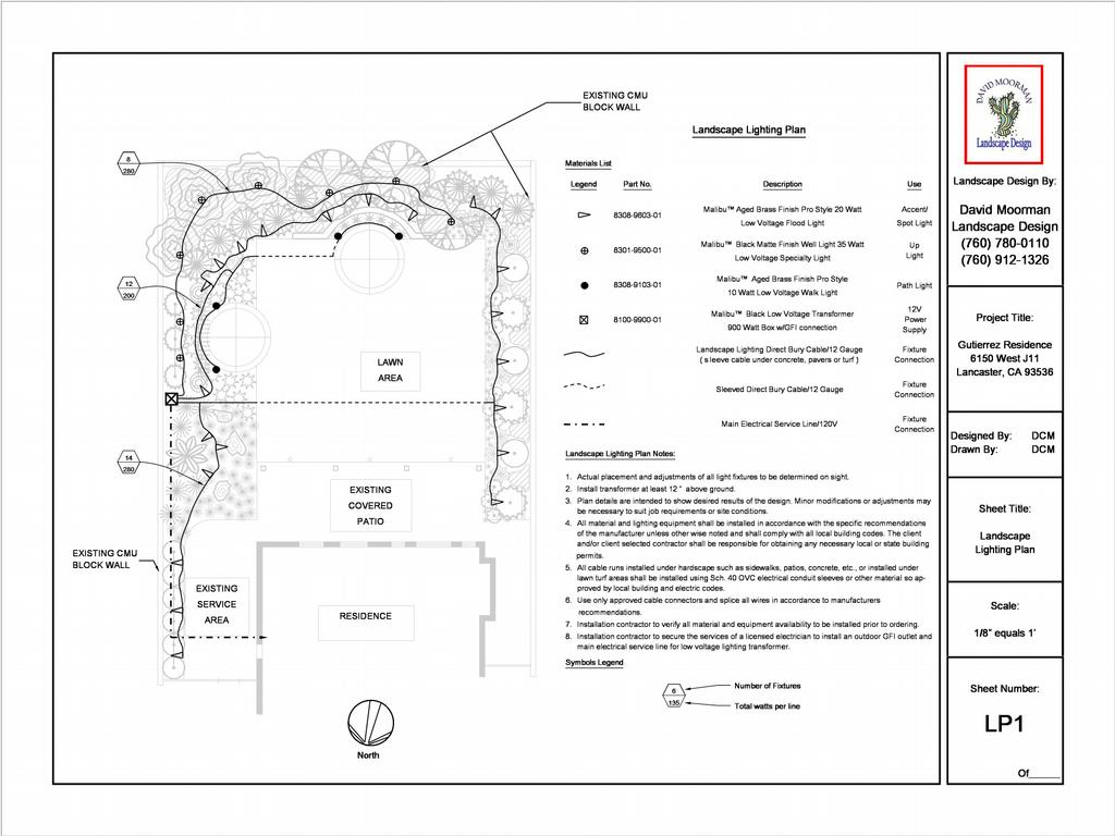 Lighting Plan From David Moorman Landscape Design In