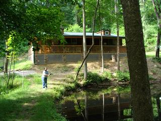 Hocking hills private pond fishing hickory grove cabins for Private fishing ponds near me