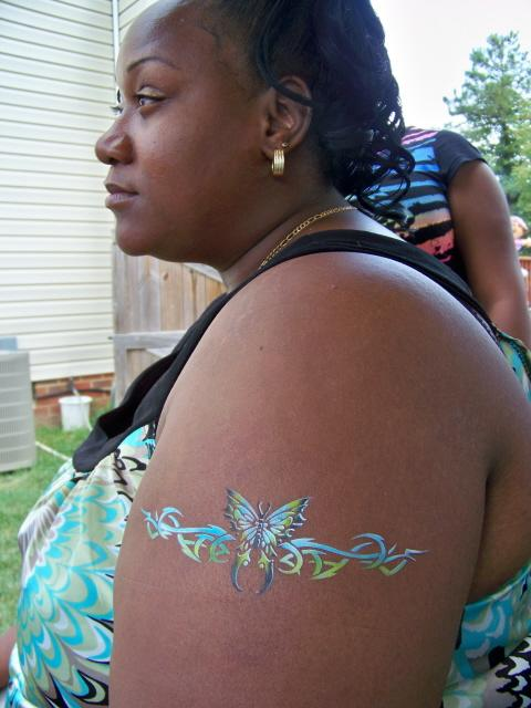 Tribal Butterfly Arm Band Temporary Airbrush Tattoo