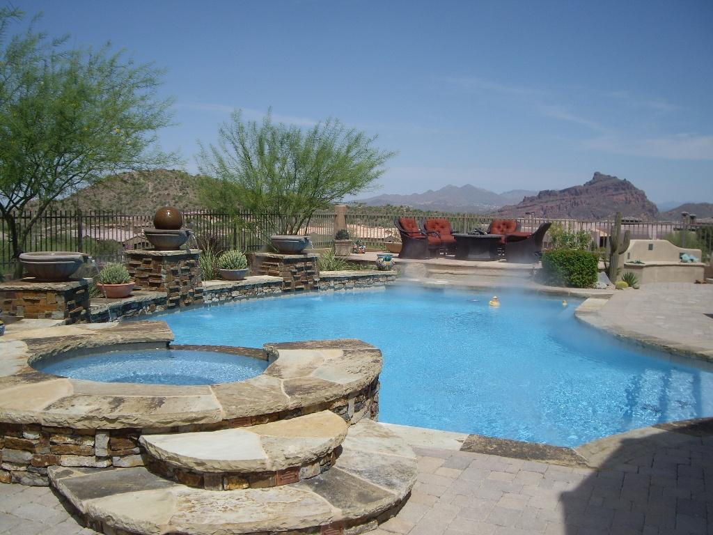 Pool remodel project in phoenix w views from unique for Pool resurfacing phoenix az
