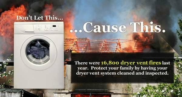 Prevent dryer fires with annual dryer vent cleanings & evaluations. by Nashville Fireplace & Chimney