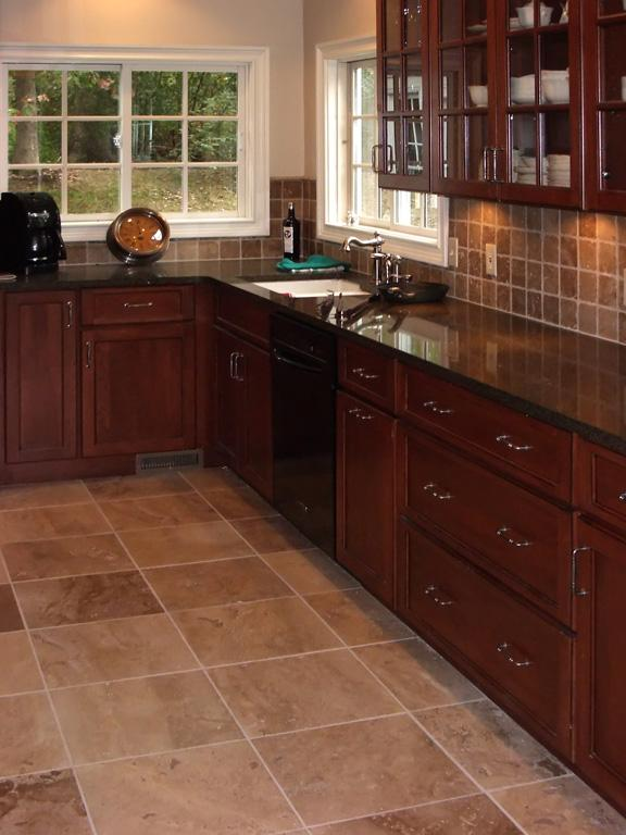 Pictures for works of art tile kitchen cabinet design for Floors to match cherry cabinets