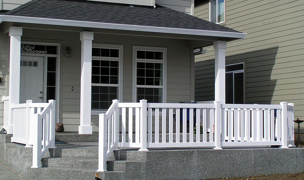 Vinyl front porch railing from pioneer fence deck for Front porch kits for sale