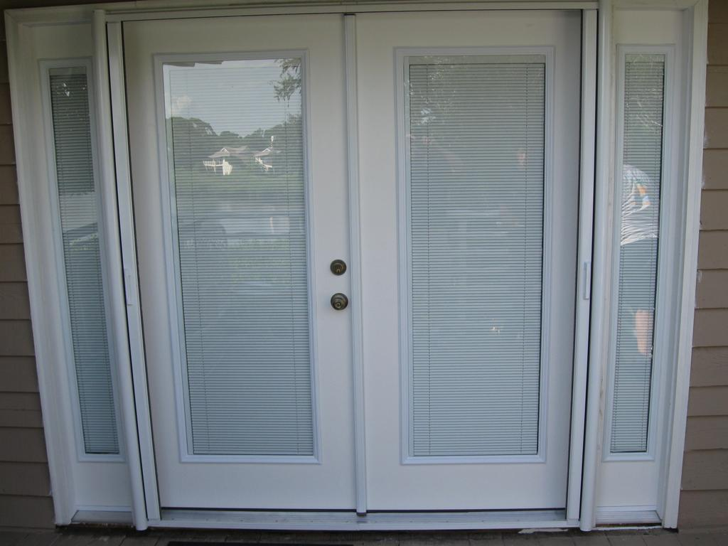 Custom french doors w interior blinds from gulfside glass for French doors with sidelights home depot