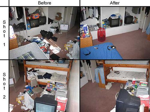 Bedroom before after from custom house cleaning in for The clean bedroom
