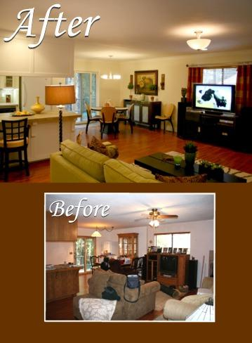 BEFORE AND AFTER. CLICK ON IMAGE TO ENLARGE. This mountain retreat