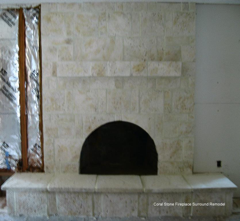 Contrast Between Stone And Plaster Finish: Fireplace Surround Remodel Coral Stone From S & S Stucco