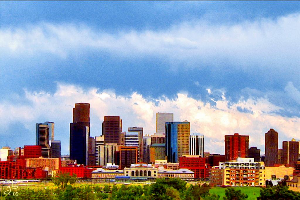 Downtown denver cityscape looking east from gingcard designs downtown denver cityscape looking east by gingcard designs greeting cards m4hsunfo