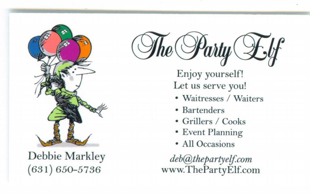 The Party Elf Business Card #2 from The Party Elf in Islip, NY 11751