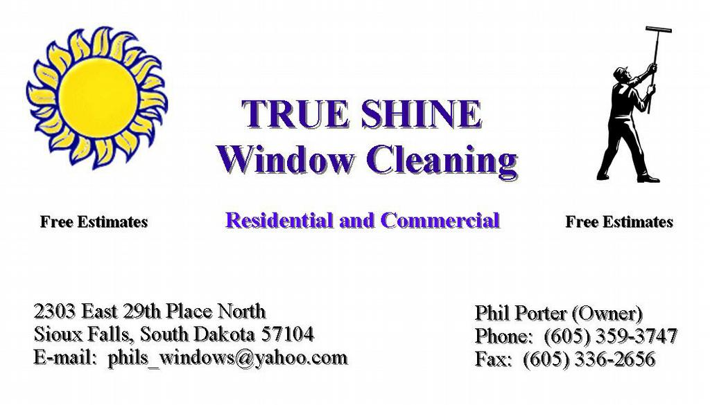 Business Card Sample from True Shine Window Cleaning in Sioux Falls ...