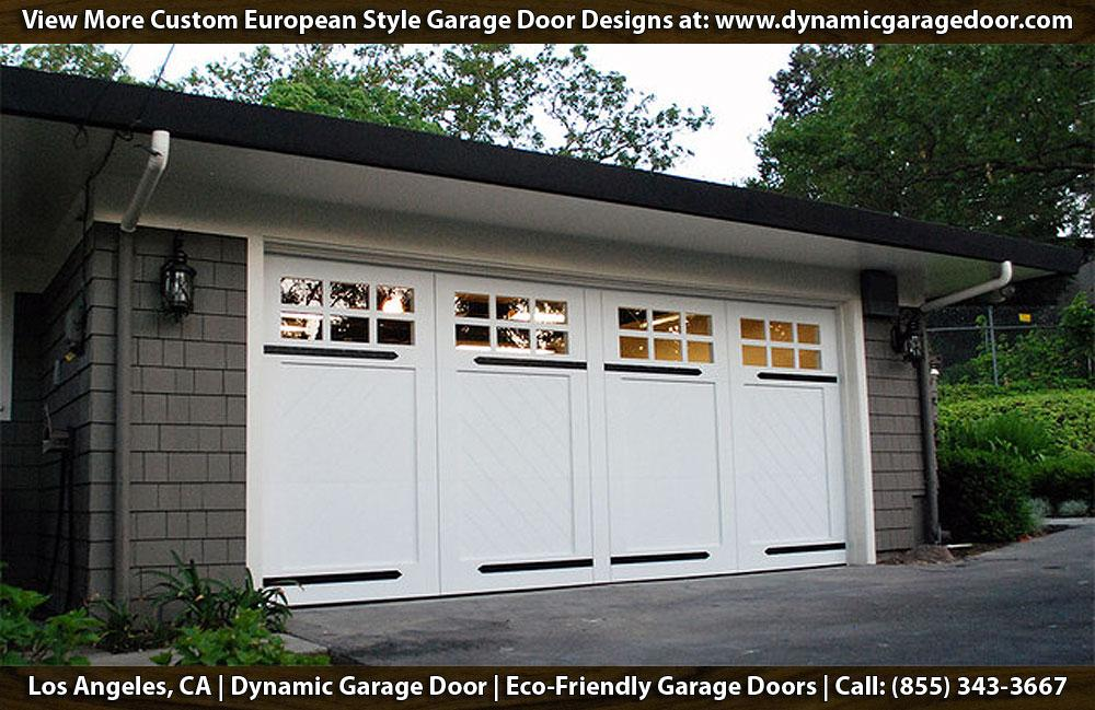 Carriage style garage door with decorative dummy hinges for Eco friendly doors