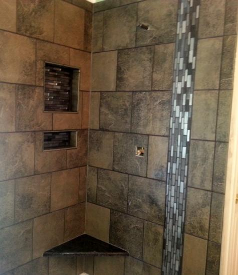 Shower Update Italian Porcelain Vertical Glass Design Granite Corner Bench Two Soap Cubbies