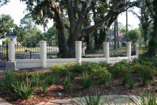 Decorative Concrete Columns And Wall With Aluminum Fence