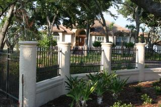 Decorative Concrete columns and wall with aluminum fence 266.jpg ...