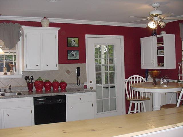 Red Kitchen Walls With White Cabinets
