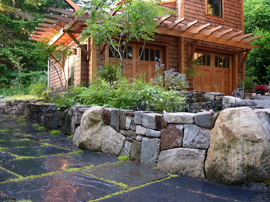 Mixed Stone Wall Slate Path Garden from MacQueen Design